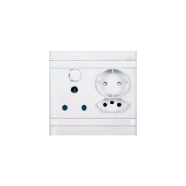 Picture of Single Switched Socket - 1x16A + 1 x Schuko + 1 x IEC