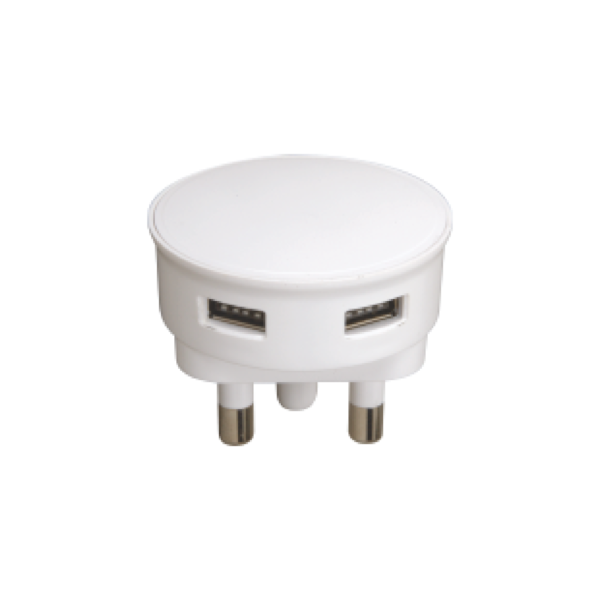 Picture of USB ADAPTOR DBL 2.1A WHITE